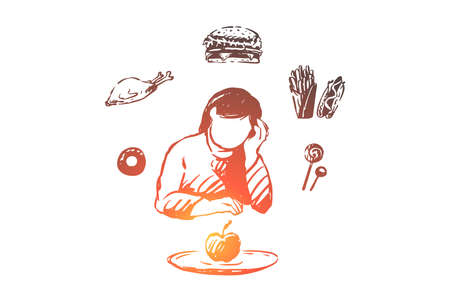 Unhappy lady dreaming about fast food, young woman looking at apple, healthy nutrition. Restriction from unhealthy products, vitamin diet concept sketch. Hand drawn vector illustration