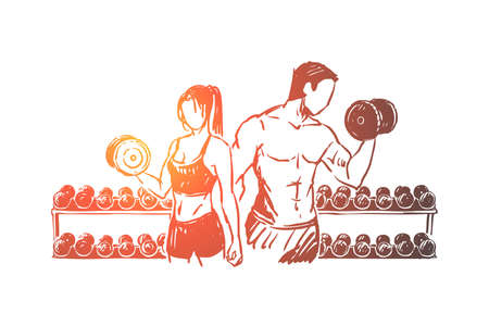 Bodybuilders couple working out in gym, weight lifting exercise with dumbbells, sportsman and sportswoman. Fitness, sport trainers, healthy lifestyle concept sketch. Hand drawn vector illustration