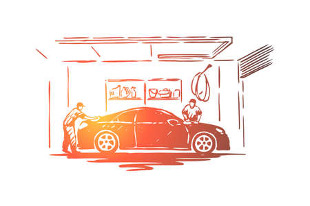 Auto care station workers, maintenance employee cleaning transport vehicle, polishing process, coworking. Car wash business, automobile washing concept sketch. Hand drawn vector illustration