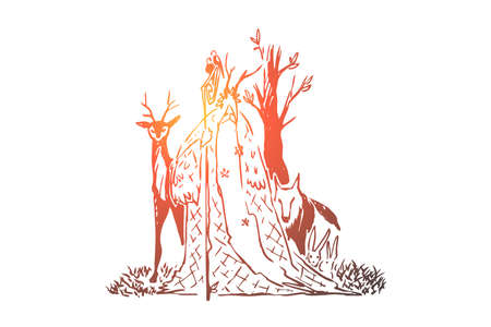 Forest druid with long beard and wooden staff, old wizard, wolf and deer, wise sorcerer, magician with animals. Fable character, fantasy fairy tale concept sketch. Hand drawn vector illustration
