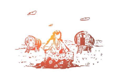 Jonge zigeunervrouw zittend in het veld, caravan op open plek, vrije natie, wagens om te reizen, vrouwelijke reiziger rust op gazon. Nomad levensstijl, romany cultuur concept schets. Hand getekende vectorillustratie