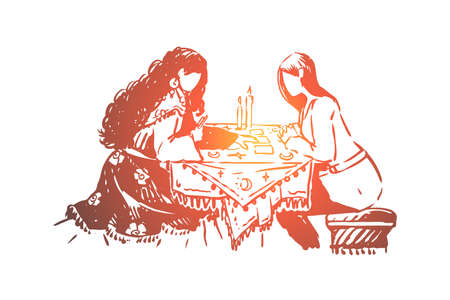 Gipsy woman, fortune teller and client, fate prediction, future forecast, visit to soothsayer. Fortune telling session, divination on tarot cards concept sketch. Hand drawn vector illustration
