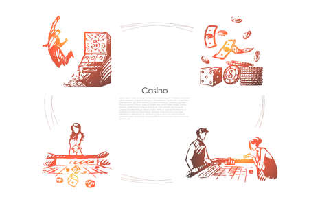 Casino - people playing and winning in casino and money vector concept set. Hand drawn sketch isolated illustration