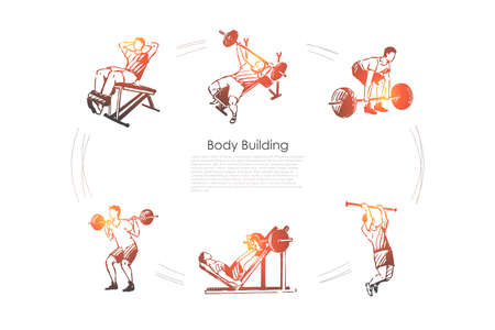 Body building - man making exercises with barbell in gym vector concept set. Hand drawn sketch isolated illustration Ilustración de vector