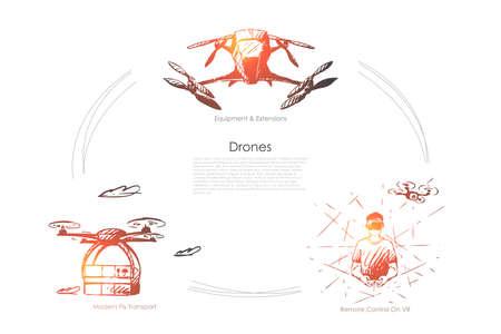 Drones - équipement et extensions, télécommande sur vr, ensemble de concepts vectoriels de transport de mouches modernes. Illustration isolée de croquis dessinés à la main Vecteurs