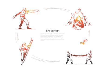 Feuerwehrmann - Mann Feuerwehrmann löscht Feuer, klettert Leiter hoch, rettet Menschen und fängt von oben Vektorkonzept-Set. Handgezeichnete Skizze isolierte Illustration