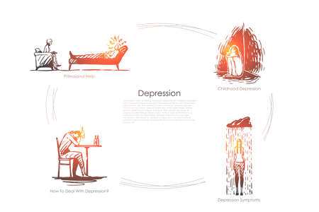 Depression - professional help, childhood depression, depression symptoms, how to deal with depression vector concept set. Hand drawn sketch isolated illustration