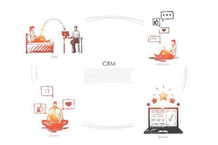 CRM - CRM, feedback, opinione, set di concetti vettoriali di revisione. Illustrazione isolata schizzo disegnato a mano