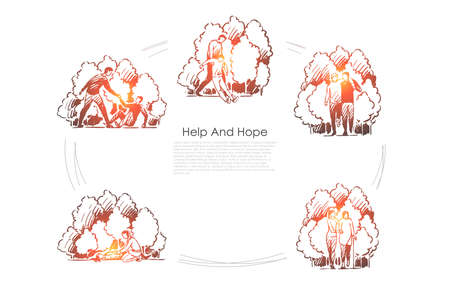 Help and hope - people helping other people in difficult situations vector concept set. Hand drawn sketch isolated illustration