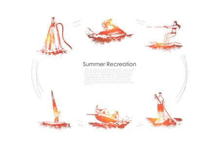 Recreación de verano: flyboard, esquí acuático, remo, vela, conjunto de concepto de vector de jet ski. Ilustración aislada boceto dibujado a mano