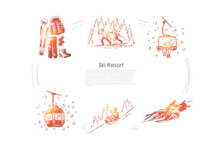 Ski resort - ski equipment and clothes, going by sledges with child, skiing in forest, ski lift and cabin vector concept set. Hand drawn sketch isolated illustration