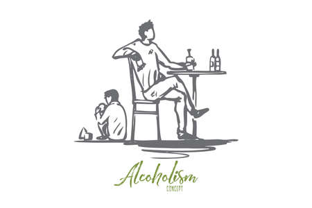 Father, alcohol, drunk, child, alcoholism concept. Hand drawn drunk father and child at home concept sketch. Isolated vector illustration.
