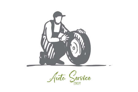 Car, wheel, repair, auto, service, replace concept. Hand drawn service man replaces wheel of car concept sketch. Isolated vector illustration. Ilustração