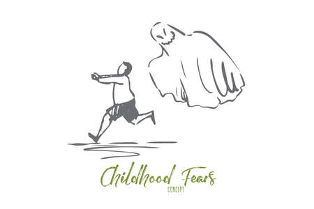 Ghost, monster, boy, fear, scary concept. Hand drawn boy runs from flying ghost concept sketch. Isolated vector illustration. Standard-Bild - 123361788