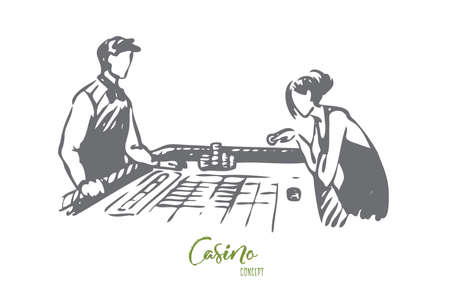 Casino, woman, game, poker, gamble concept. Hand drawn woman play poker in casino concept sketch. Isolated vector illustration.