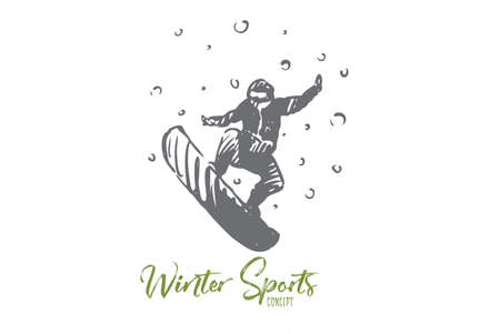 Snowboard, winter, sport, speed, extreme concept. Hand drawn man on snowboard, winter sport concept sketch. Isolated vector illustration. Stock Illustratie