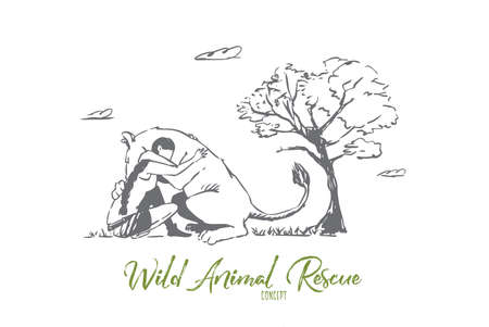 Animal, lion, wild, woman, save concept. Hand drawn wild lion hugs with woman. Wild animal rescue concept sketch. Isolated vector illustration. Vettoriali