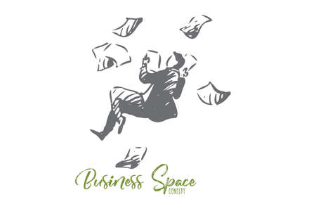Business, space, paper, man, fly concept. Hand drawn businessman flying with a lot of paper concept sketch. Isolated vector illustration.