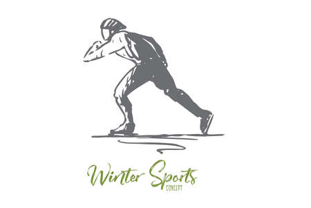 Skates, winter, sport, speed, rink concept. Hand drawn man skating. Winter recreation concept sketch. Isolated vector illustration.