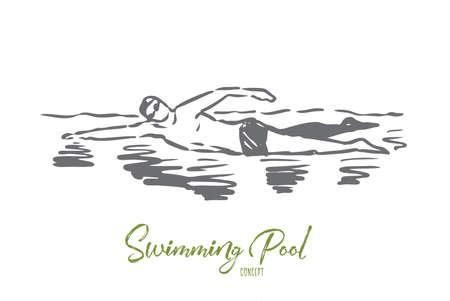 Natation, piscine, sport, eau, concept de nageur. Homme dessiné à la main nageant dans la piscine. Croquis de concept de nageur professionnel. Illustration vectorielle isolée. Vecteurs