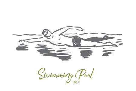 Swimming, pool, sport, water, swimmer concept. Hand drawn man swimming in pool. Professional swimmer concept sketch. Isolated vector illustration.