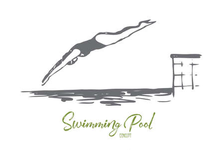 Buceo, agua, piscina, salto, concepto de natación. Mujer dibujada mano salta en la piscina con bosquejo del concepto de agua. Ilustración de vector aislado.