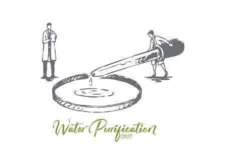 Water, purification, element, chemistry, science concept. Hand drawn chemist examines water concept sketch. Isolated vector illustration.