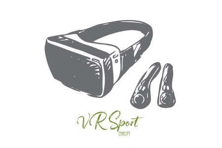 VR, equipment, reality, technology, glasses, game concept. Hand drawn virtual reality glasses and joystick concept sketch. Isolated vector illustration.