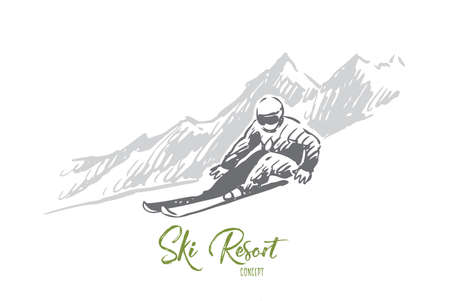 Ski, snow, winter, sport, extreme concept. Hand drawn sportsman skiing in winter mountains concept sketch. Isolated vector illustration. Vecteurs