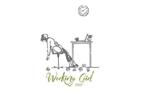Tired, freelancer, woman, overwork, deadline concept. Hand drawn tired woman works at night concept sketch. Isolated vector illustration. Illustration