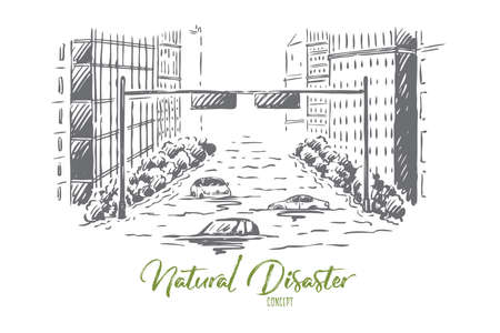 Flood, disaster, city, street, danger concept. Hand drawn flood in city, cars and buildings in water. Nature disaster concept sketch. Isolated vector illustration. Illustration