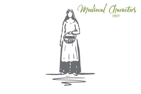 Medieval, woman, dress, costume, ancient concept. Hand drawn woman with basket in medieval dress concept sketch. Isolated vector illustration.
