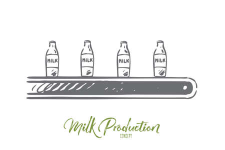Milk, factory, line, processing, machine concept. Hand drawn milk production line with bottles concept sketch. Isolated vector illustration.
