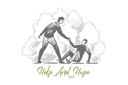 Help, fall, man, accident, people concept. Hand drawn man helps person to rise concept sketch. Isolated vector illustration.