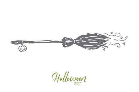 Balai, Halloween, sorcière, automne, concept de vacances. Balai volant dessiné à la main de croquis de concept de sorcière. Illustration vectorielle isolée. Vecteurs