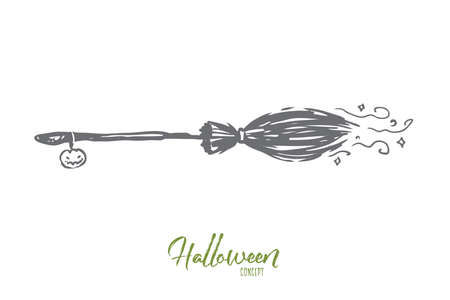 Broom, Halloween, witch, autumn, holiday concept. Hand drawn flying broom of witch concept sketch. Isolated vector illustration.
