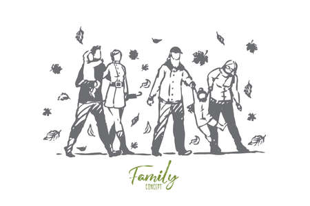 Family, autumn, park, people, tree concept. Hand drawn happy big family with kids walking in autumn park concept sketch. Isolated vector illustration. Vectores