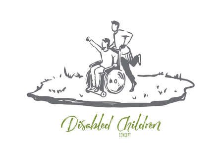 Wheelchair, handicapped, boy, walk concept. Hand drawn boy on wheelchair walk on lawn concept sketch. Isolated vector illustration.