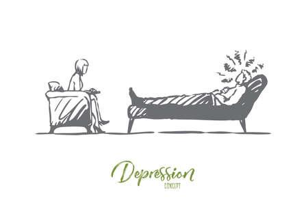 Psicólogo, médico, paciente, terapia, concepto de estrés. Psicólogo dibujado a mano que trabaja con el bosquejo del concepto del paciente. Ilustración de vector aislado.