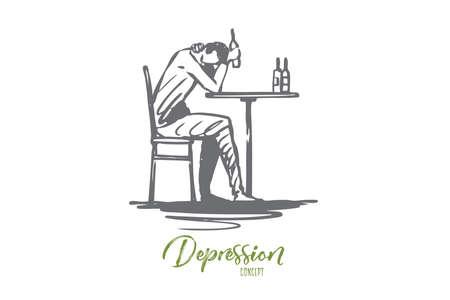Depression, alcohol, problem, bottle, drink concept. Hand drawn man in depression drink alcohol concept sketch. Isolated vector illustration.