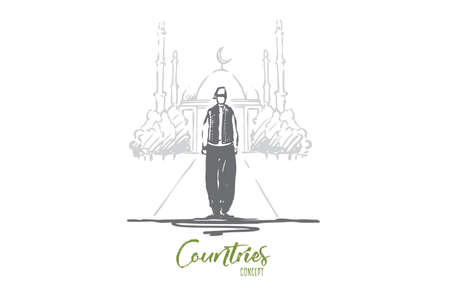 Turkey, mosque, country, traditional, tourism concept. Hand drawn Turkish man in traditional dress, mosque on background concept sketch. Isolated vector illustration.