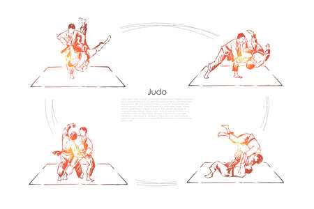 Judo, young athletes in kimono training, sparring practice, combat exercise, self defence class banner. Oriental martial arts, sport activity concept sketch. Hand drawn vector illustration