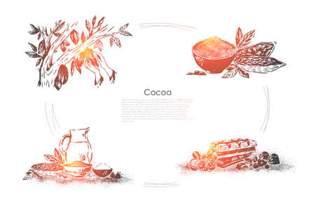 Chocolate cooking process, tree fetus collecting, beans grinding, ingredients mixing, candy shop, confectionery banner. Cocoa products making stages concept sketch. Hand drawn vector illustration