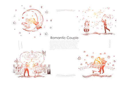 Young couples on date, man catching star, people playing saxophones, pair ride in shopping cart, dating banner. Romantic relationship, surreal romance concept sketch. Hand drawn vector illustration