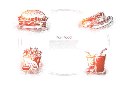 Delicious fast food, hamburger sandwich, hot dogs, french fries with sauce and soda, unhealthy junk food banner. Fastfood cafe menu, takeaway snacks concept sketch. Hand drawn vector illustration
