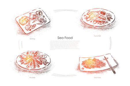 Delicious marine dishes, shrimp, tuna fish, mussels and sea kale, gourmet dinner, seafood restaurant menu, banner. Ocean cuisine, organic meal concept sketch. Hand drawn vector illustration