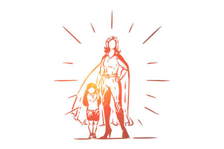Best mother and daughter holding hands, female superhero in costume with cape, little girl with parent, motherhood. Super mom with kid, childcare concept sketch. Hand drawn vector illustration