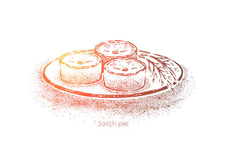Scotch pie with filling, traditional scottish dish baked with minced mutton, national food, british cuisine. Small meat tart, delicious pastry concept sketch. Hand drawn vector illustration Ilustrace