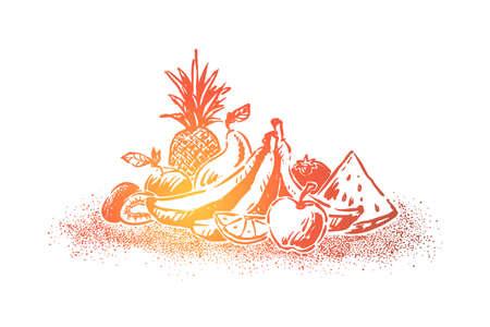 Delicious fresh fruits, ripe summer dessert, juicy apple, watermelon piece, pineapple, bananas, lemon slice. Natural juice ingredients, vitamin diet concept sketch. Hand drawn vector illustration Ilustrace