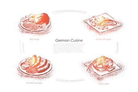 Dinner in Germany, pork hough, strudel with apple, bavarian sausages, potato salad, european cooking banner. Traditional german cuisine restaurant menu concept sketch. Hand drawn vector illustration